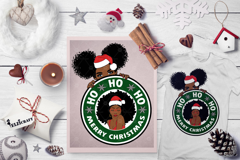 Christmas Afro Woman, Santa Hat, Cute Peeking Afro Girl SVG example image 1