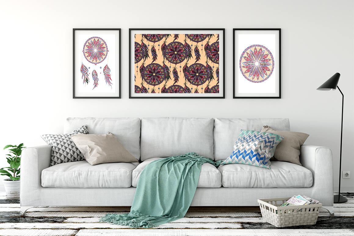 Dreamcatcher illustration and pattern example image 5