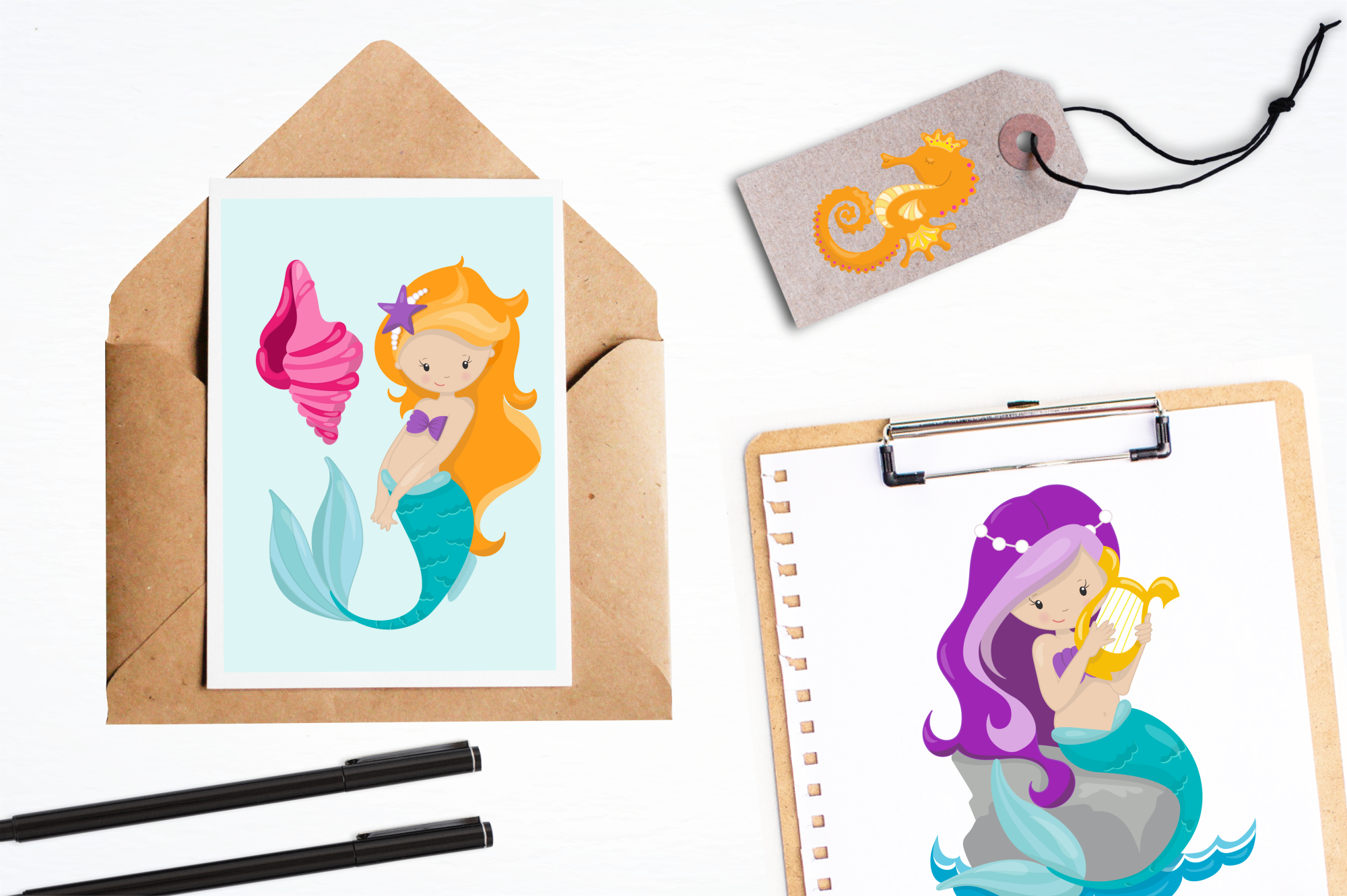 Mermaids graphics and illustrations example image 4