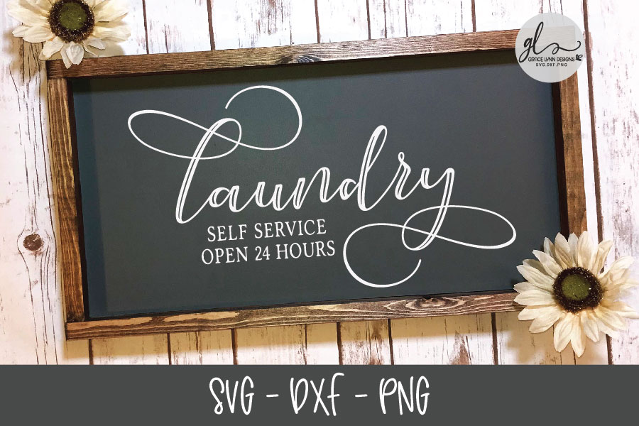 Laundry Self Service Open 24 Hours - Laundry SVG Cut File example image 1