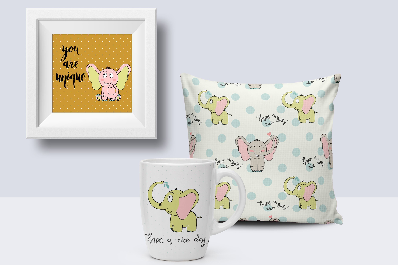 Cute elephants. Kit example image 2