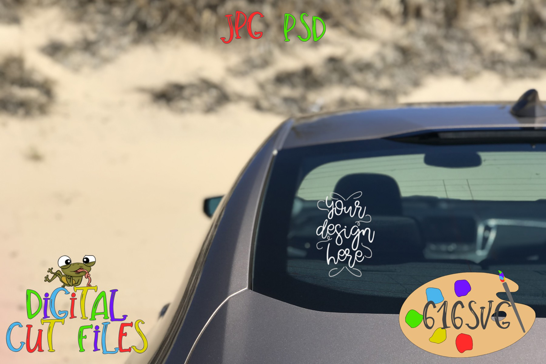 Drivers Side Rear Windshield Mockup with Sand Dunes Scenery example image 1