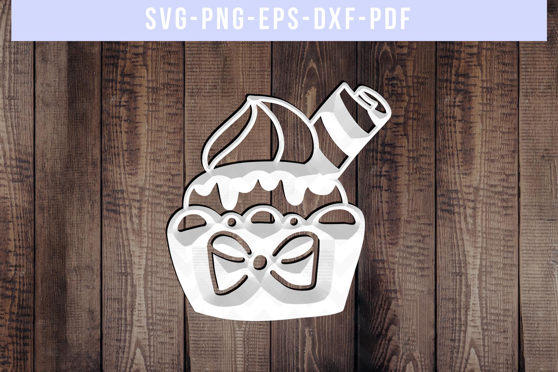 Sweet Cupcake Papercut Template, Birthday Cut File SVG PDF example image 3