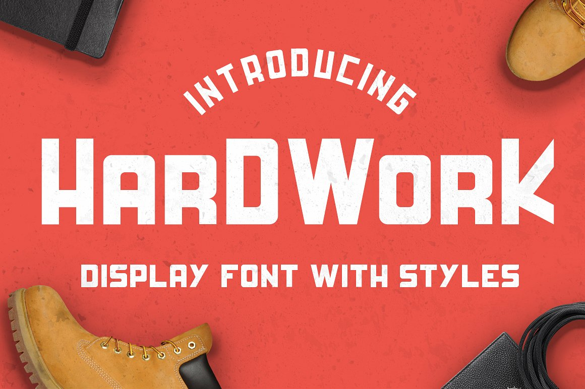 HardWork - Display Font With Styles / Font Logo example image 1