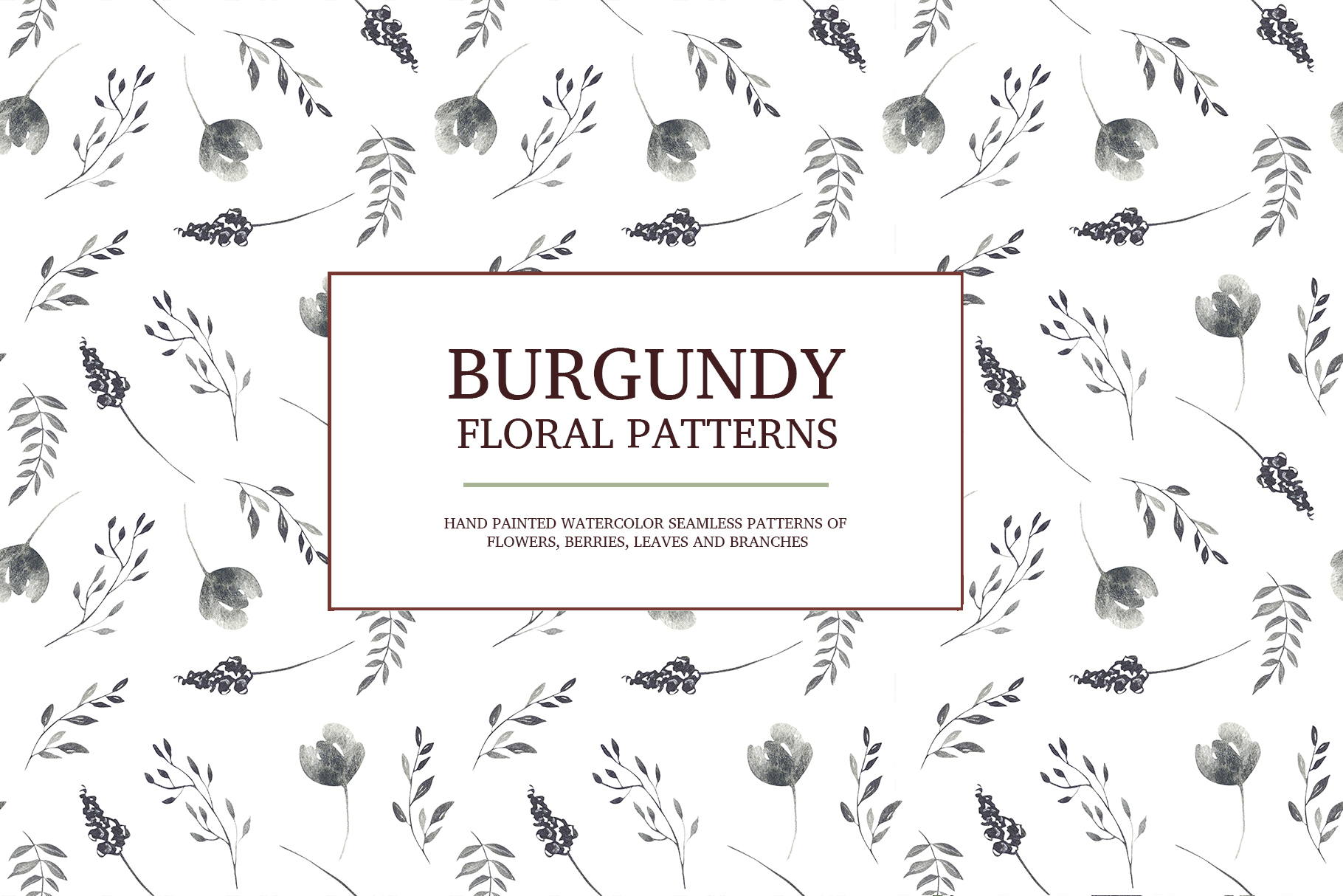 Burgundy floral seamless patterns, Seamless peony pattern example image 6