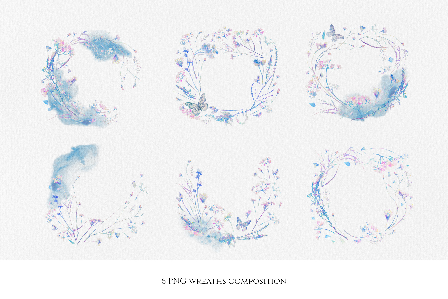 Watercolor floral design collection, herbal and ice example image 7