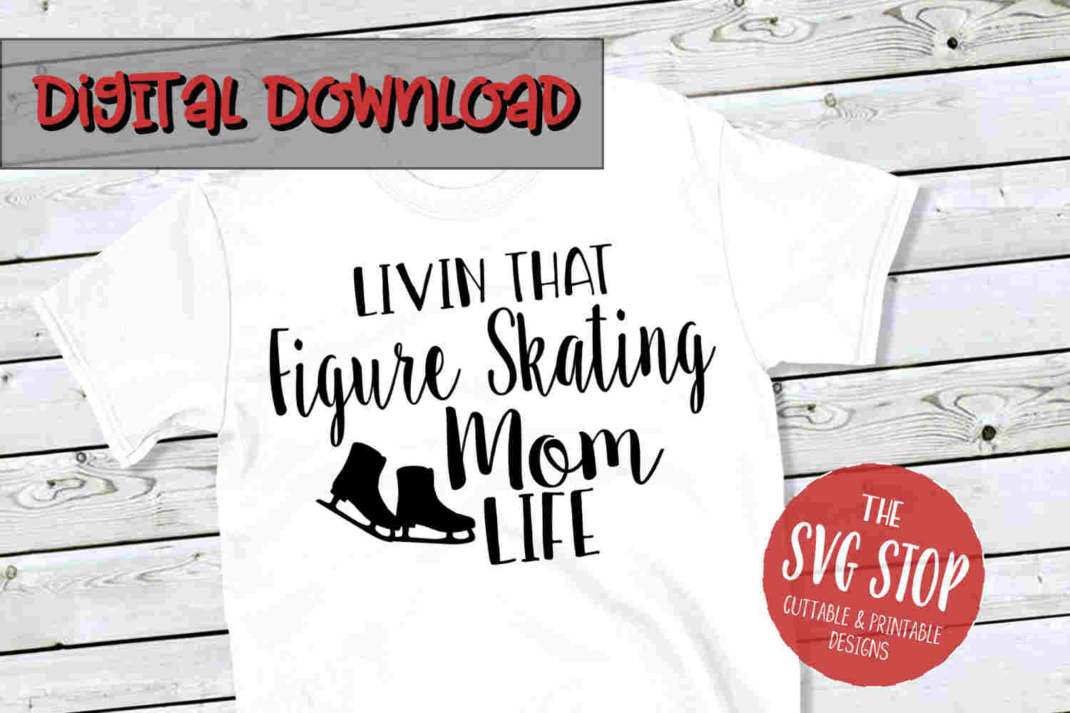 Figure Skating Mom Life -SVG, PNG, DXF example image 1