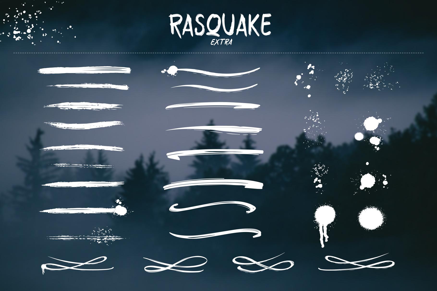 RASQUAKE brush font EXTRA swashes example image 3