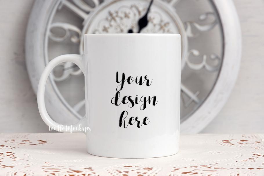 White coffee 11oz mug mock up clock decor rustic background example image 1