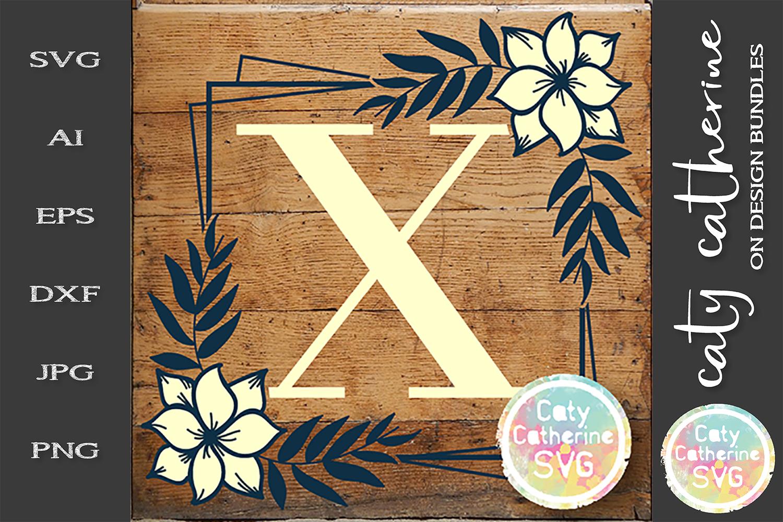 Letter X Floral Monogram Frame SVG Cut File example image 1