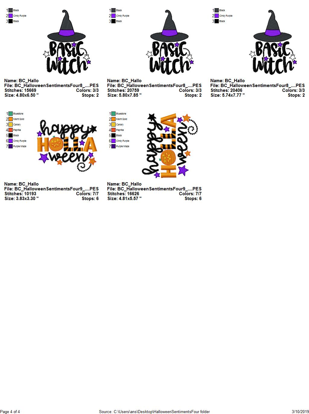 Halloween Sentiments Four - 12 Machine Embroidery Designs example image 17