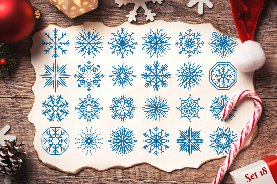 500 Snowflake Vector Ornaments example image 27