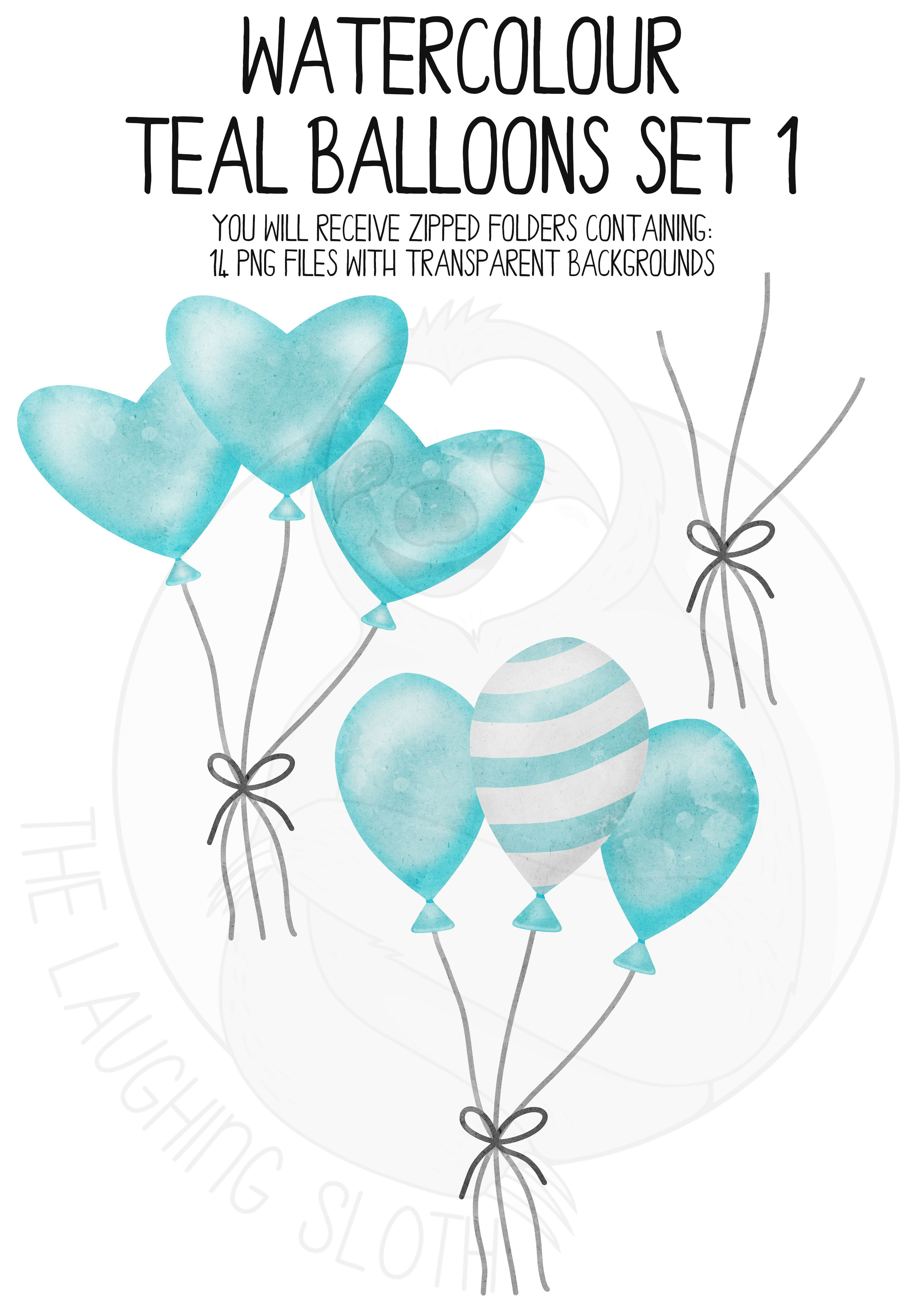 Teal Watercolor Balloon Clipart Set example image 5