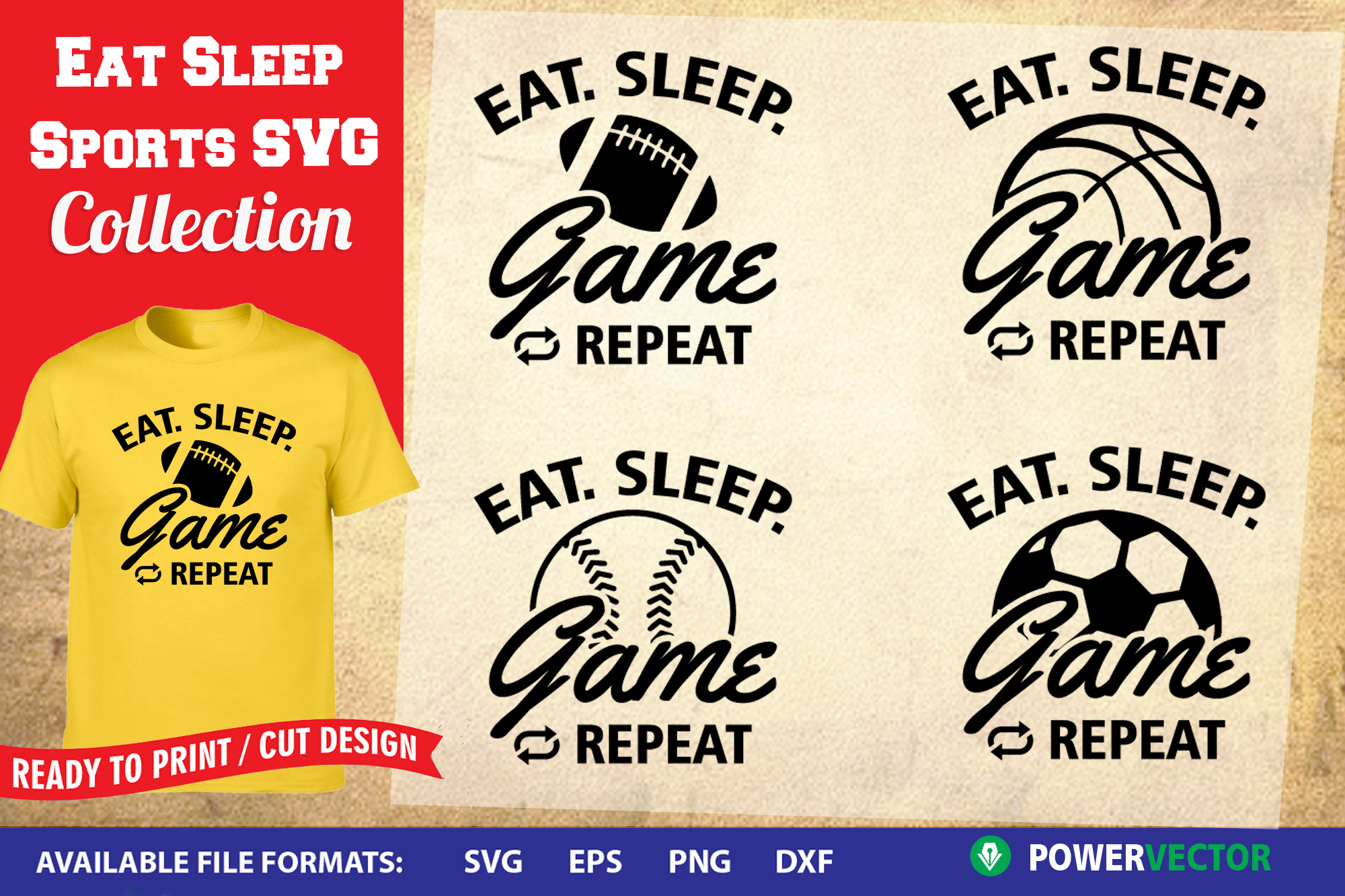 Eat Sleep Game SVG Collection | Sports T shirt Designs example image 1