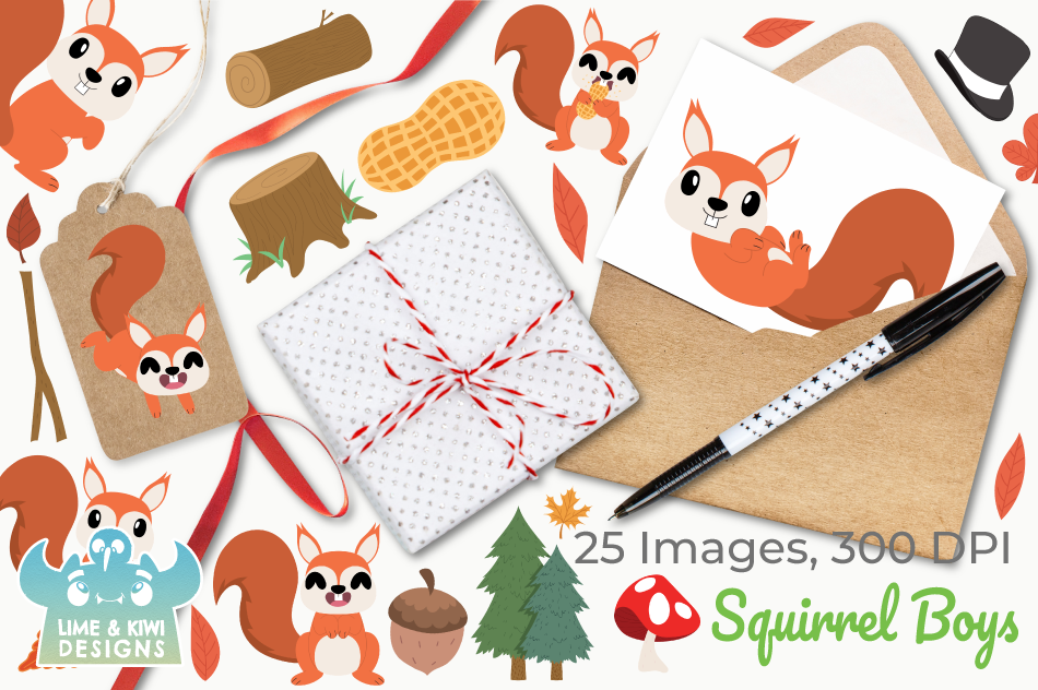 Squirrel Boys Clipart, Instant Download Vector Art example image 4