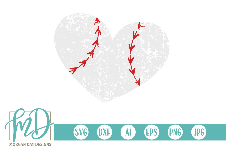 Grunge Baseball Heart SVG, DXF, AI, EPS, PNG, JPEG example image 1