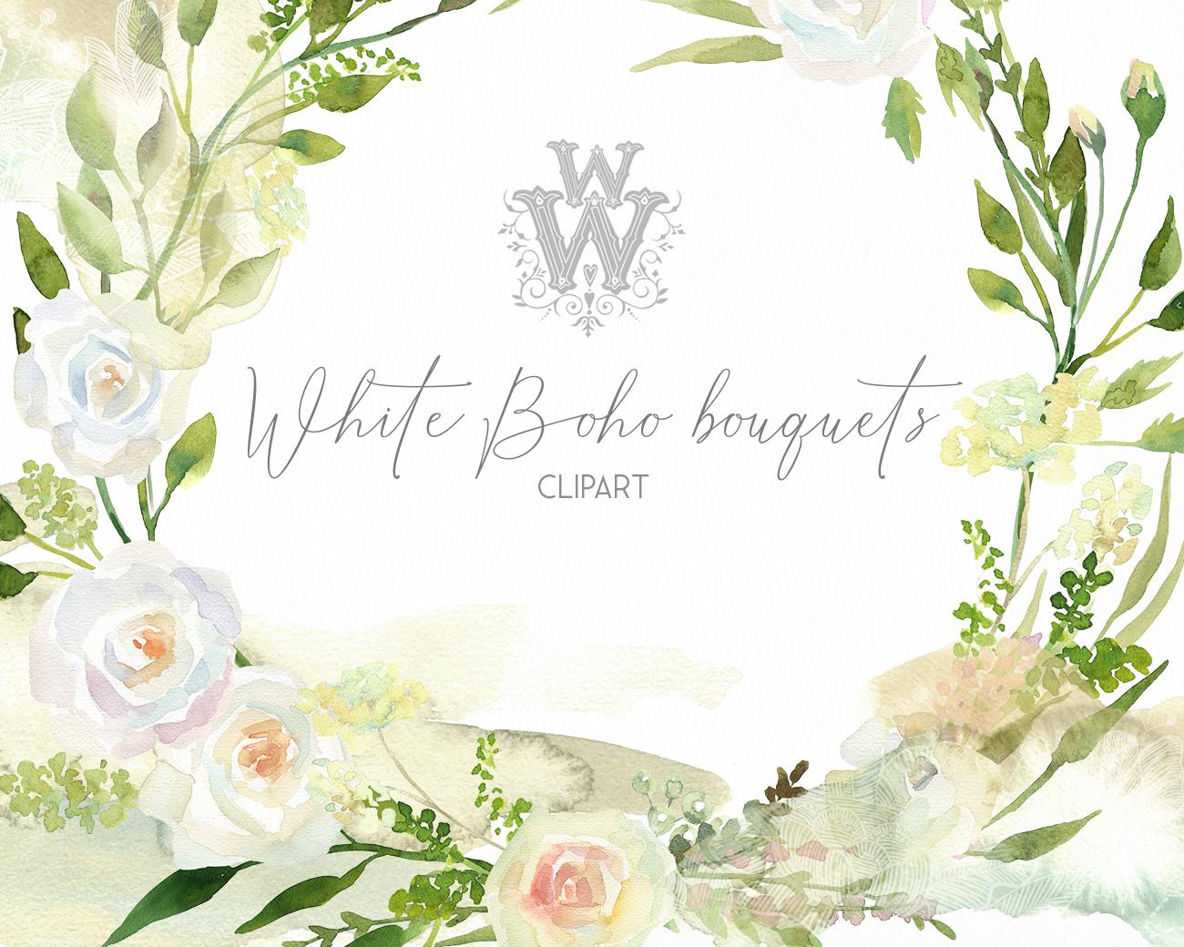 Watercolor floral wedding bouquets, boho compositios wreath example image 6