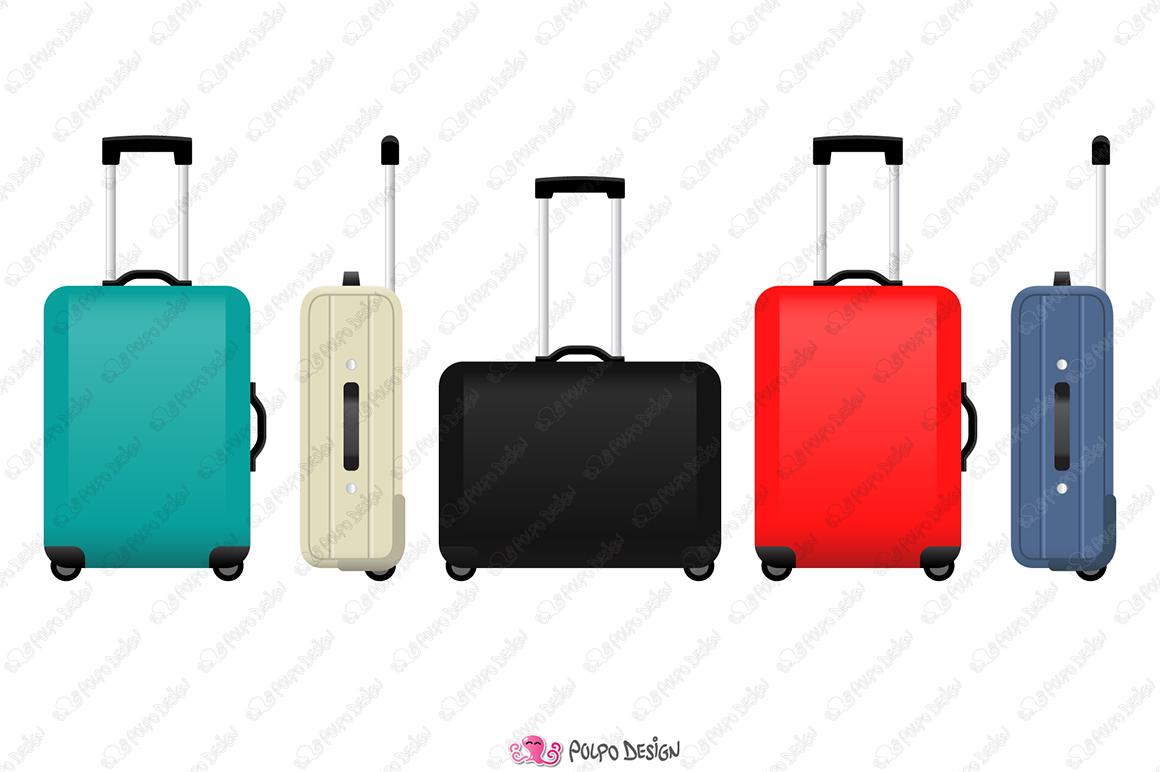 Colorful Rolling Suitcase clipart example image 2