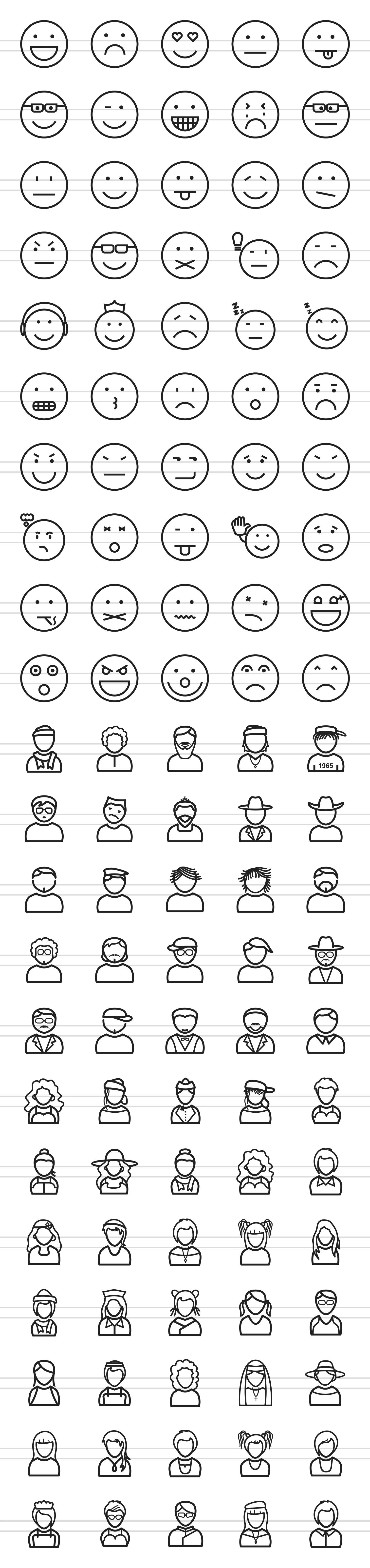 110 Avatars & Emoticons Line Icons example image 2