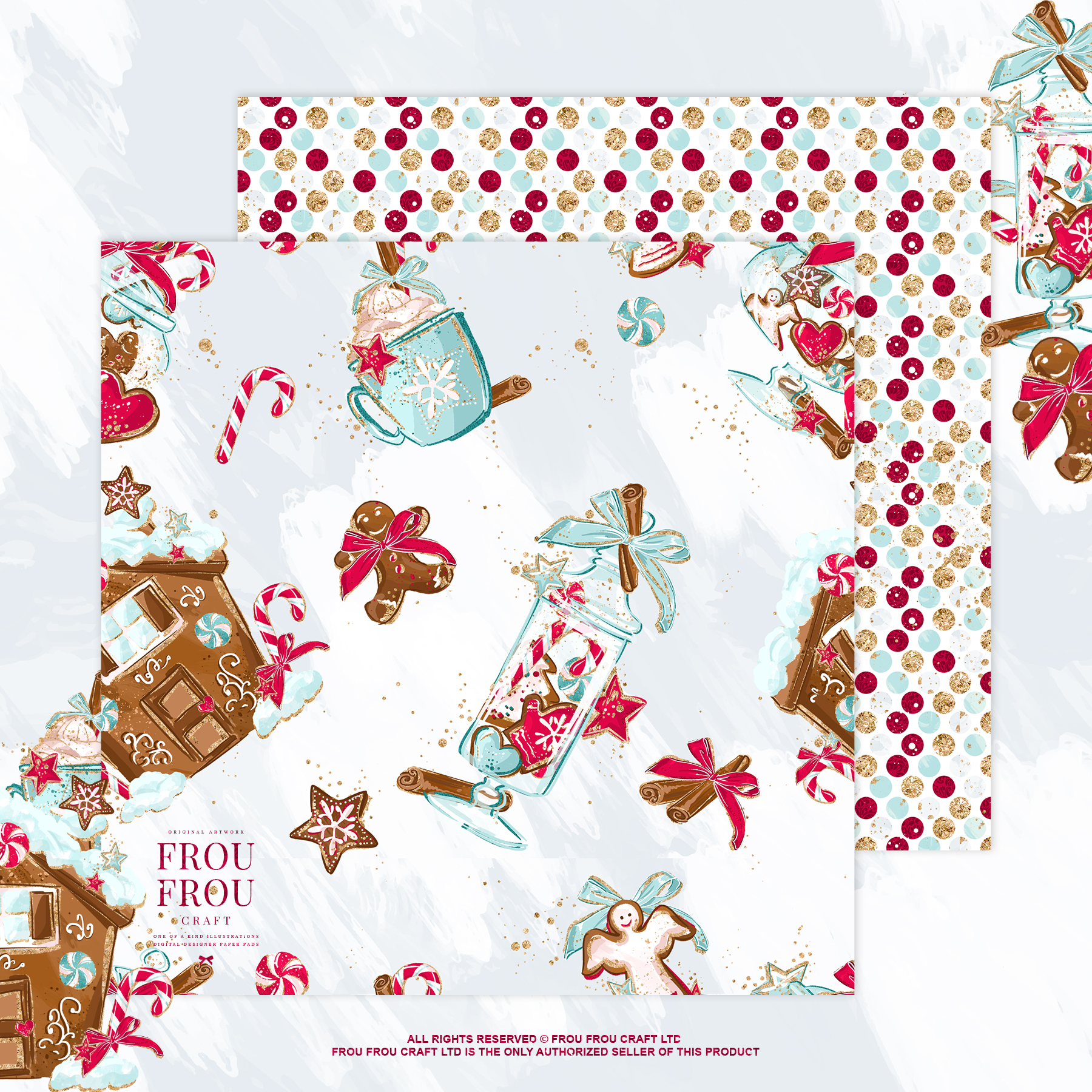 Christmas Winter Ginger Bread Sugar Cane Paper Pack example image 3
