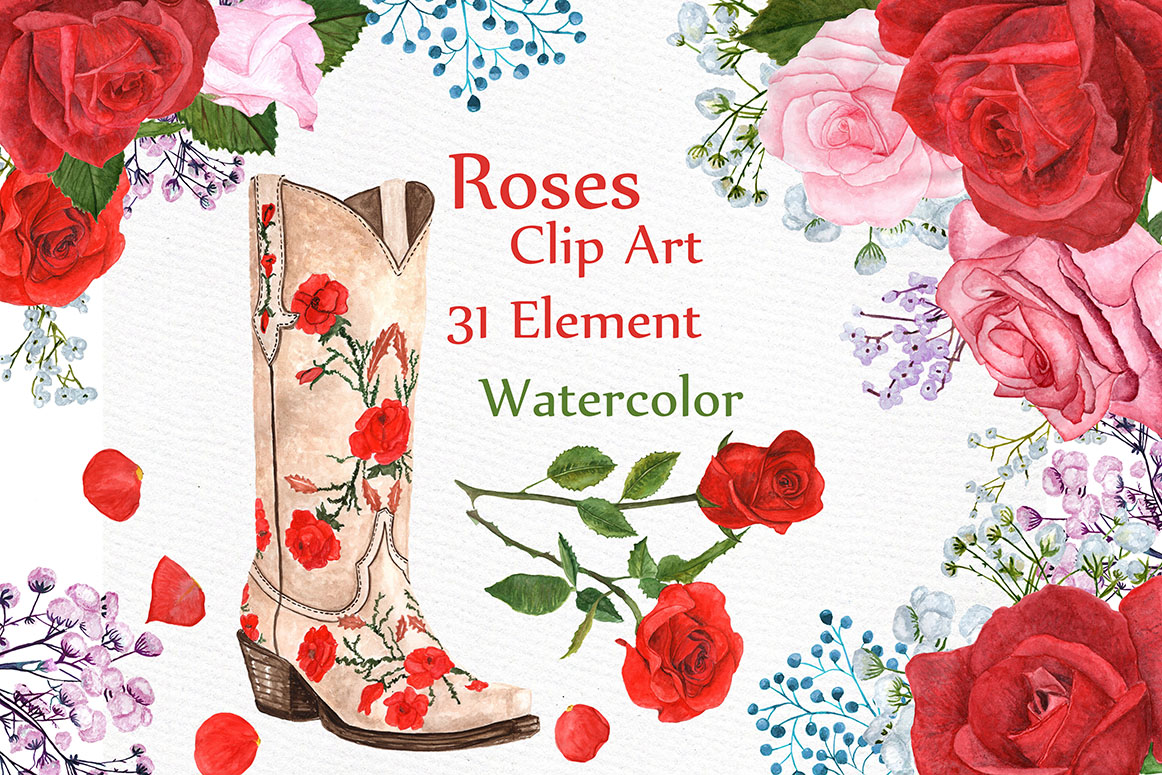 Watercolor Roses Clipart example image 1