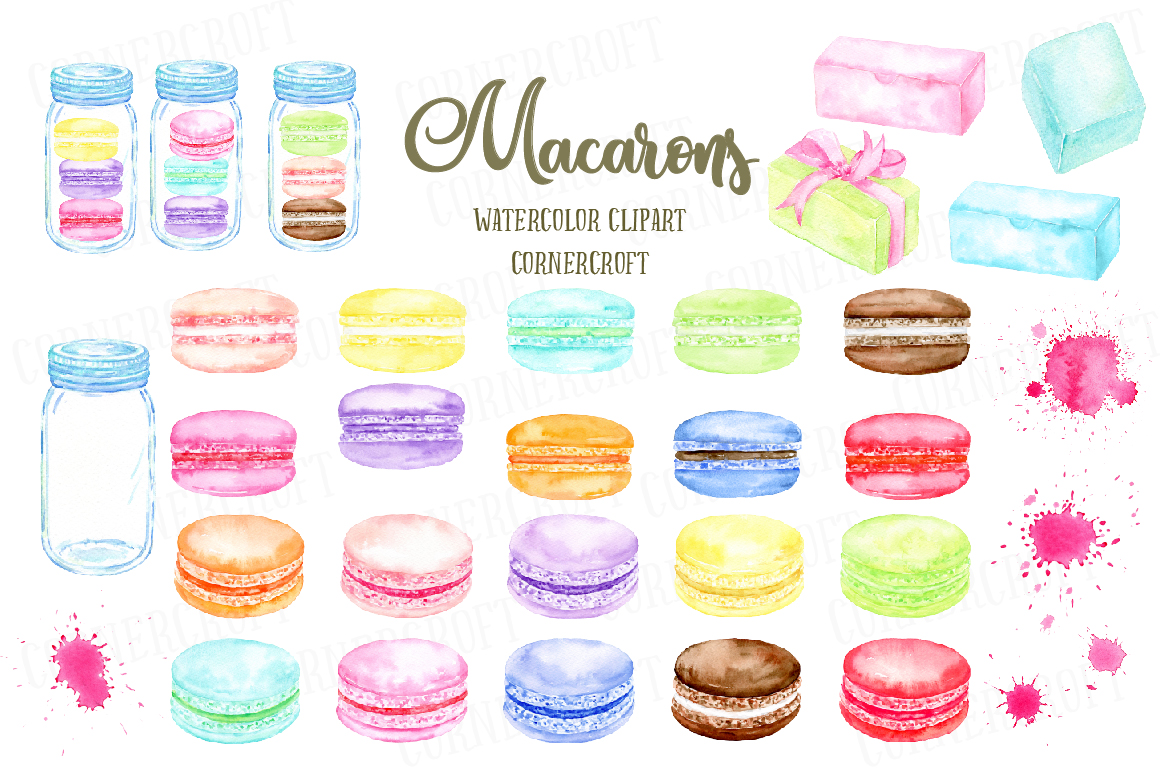 Watercolor Macaron Illustration example image 6