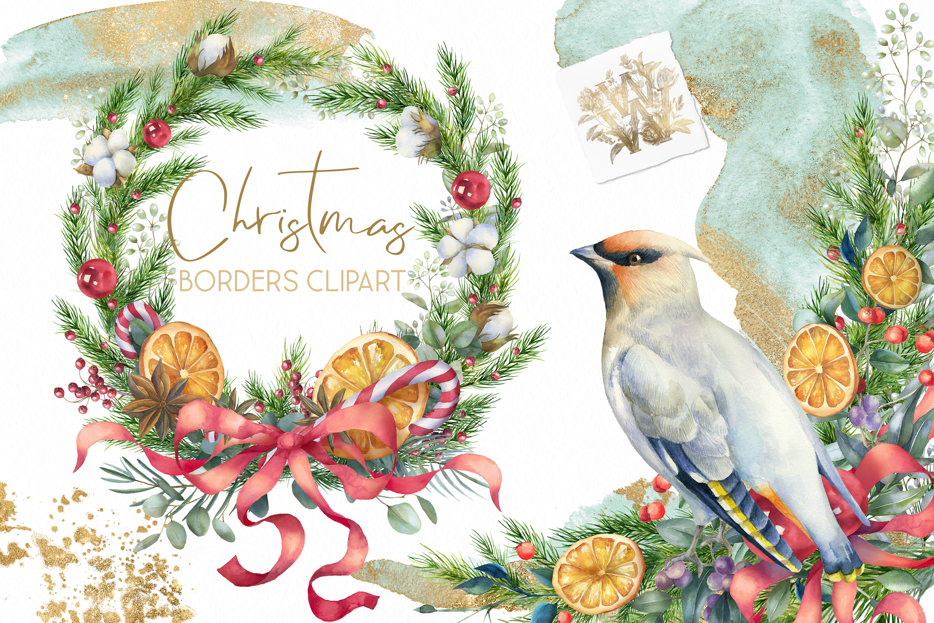 Christmas watercolor border, Poinsettia wedding Bouquet png example image 1