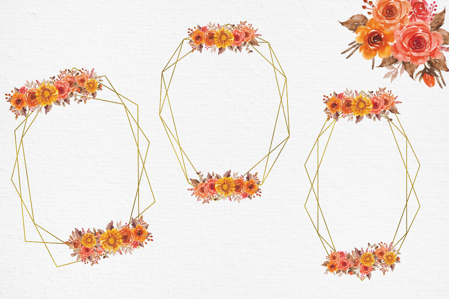 Fall Flowers Watercolor Frames, Geometric Gold Frames example image 6