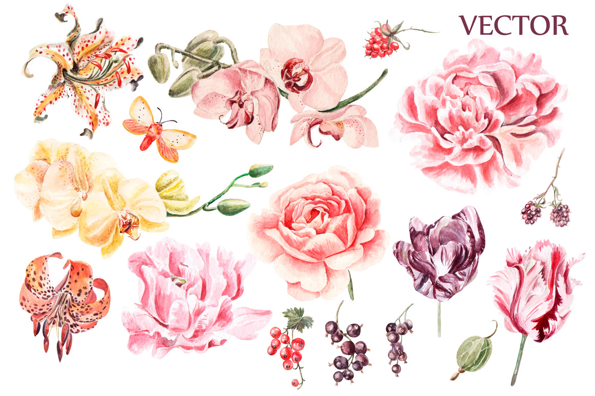 Beautiful watercolor flowers example image 3