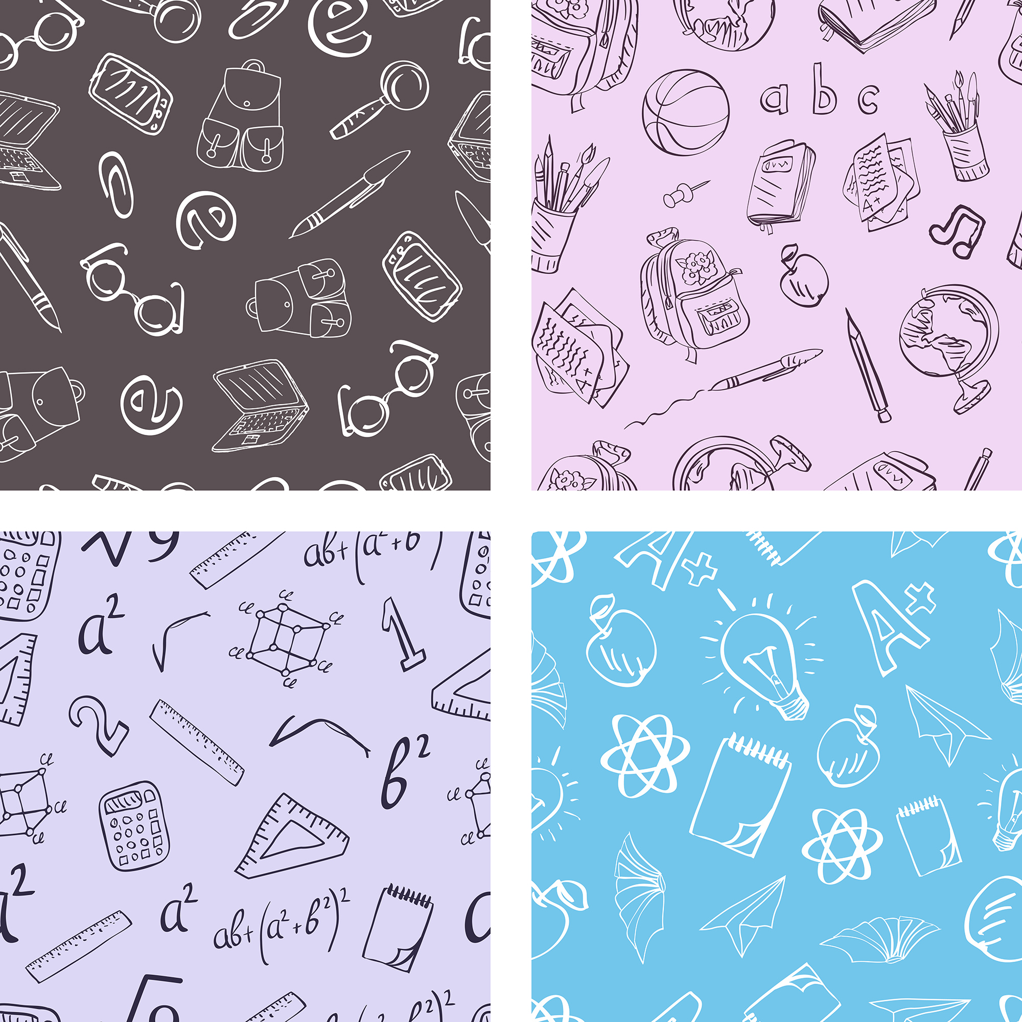 Back To School Seamless Patterns example image 2