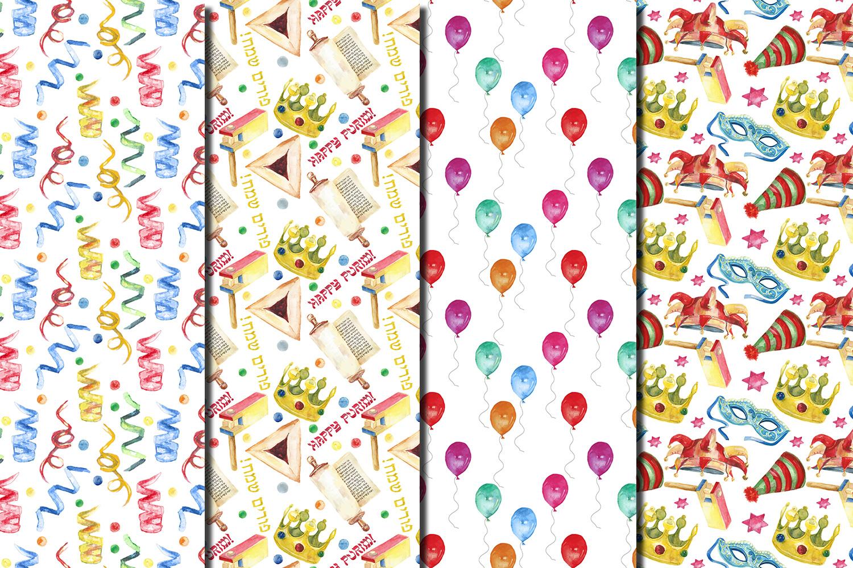 Watercolor Happy Purim seamless digital paper pack example image 2