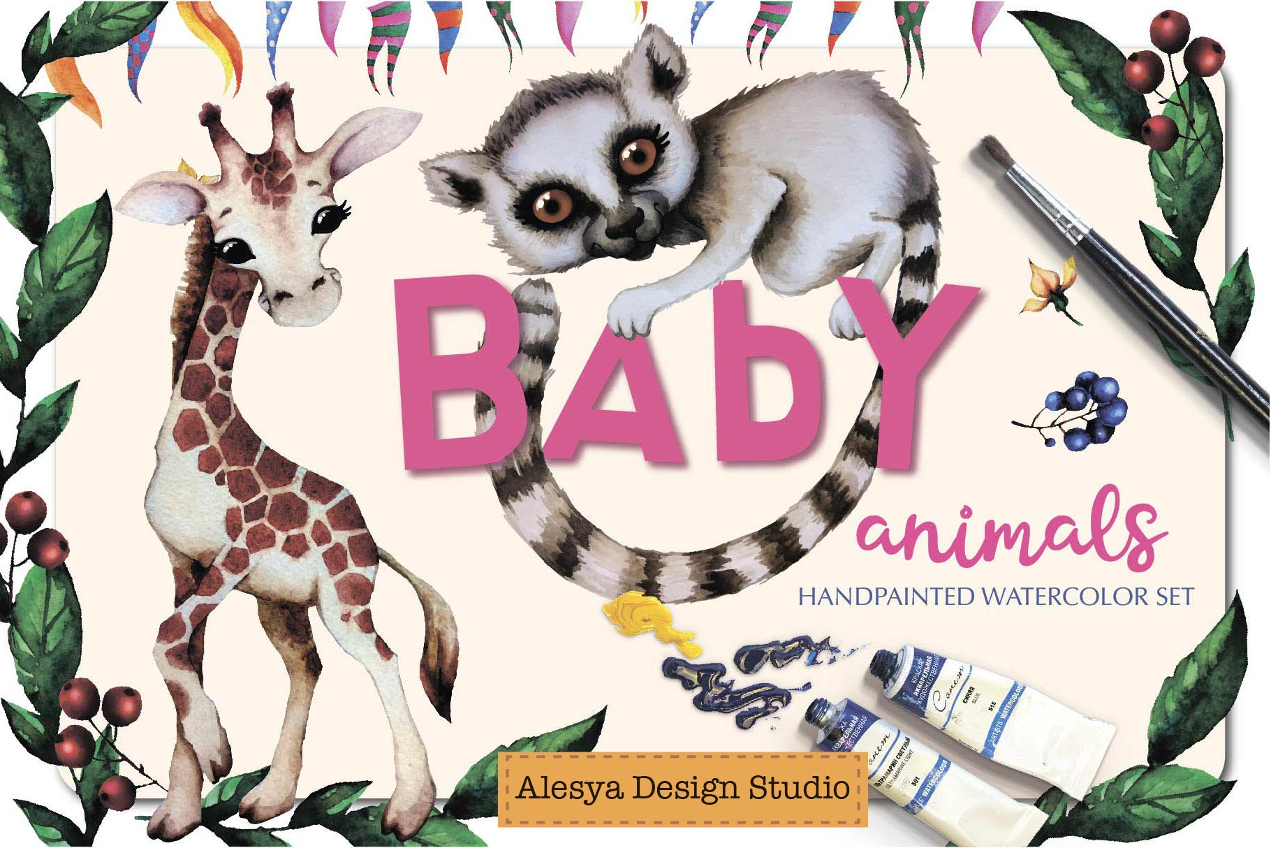 Baby animals. Cute watercolor zebra, hippo, lemur, tiger etc example image 1