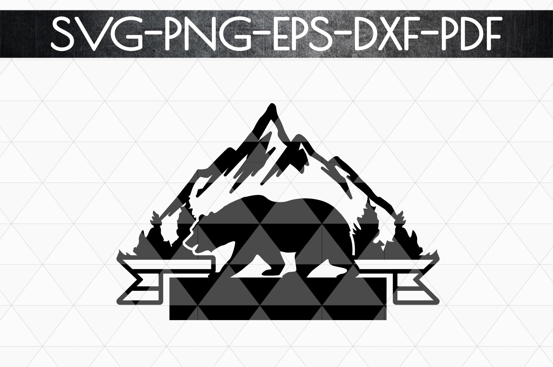Wild Bear Sign Papercut Template, Adventure Cut Files, SVG example image 5