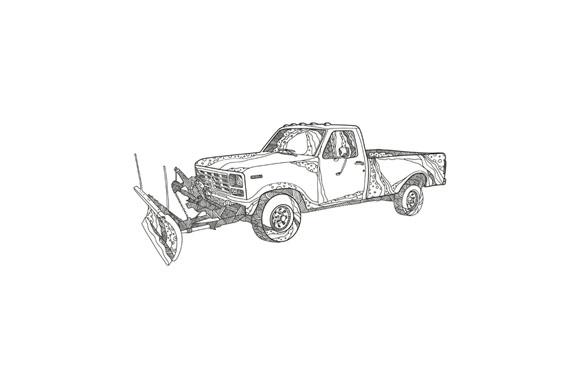 Snow Plow Truck Doodle Art example image 1