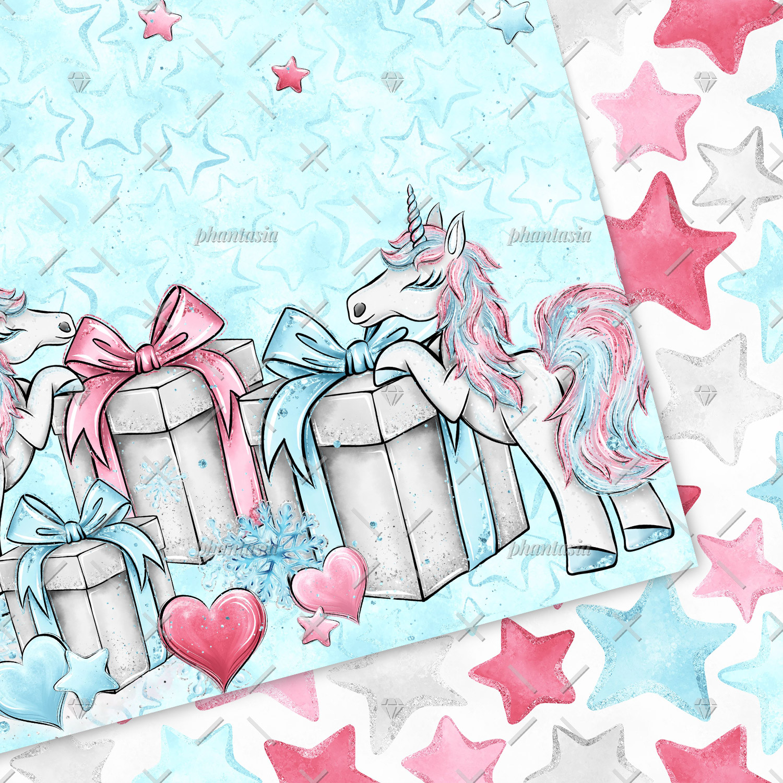 Winter Unicorn Digital Papers example image 2