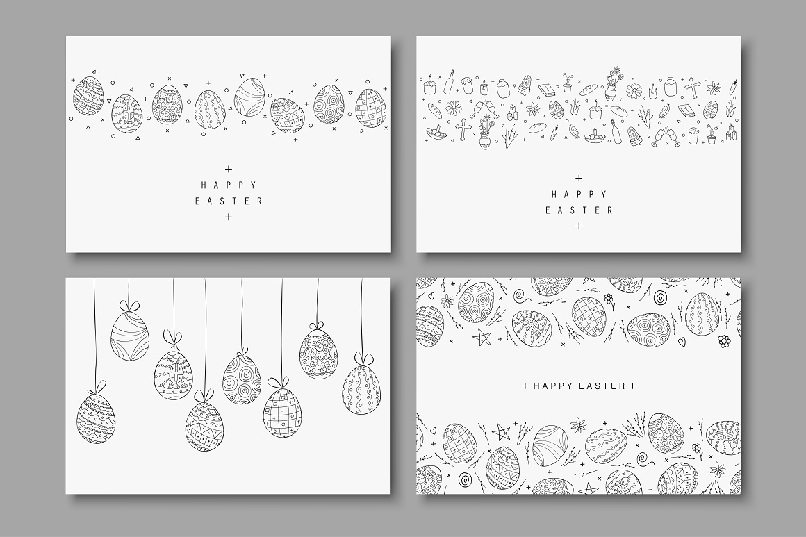 Hand drawn Happy Easter cards example image 1