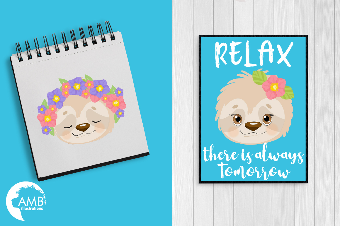 Sleepy Sloths clipart, Emoji sloth, sloth faces graphics, illustrations AMB-2203 example image 3