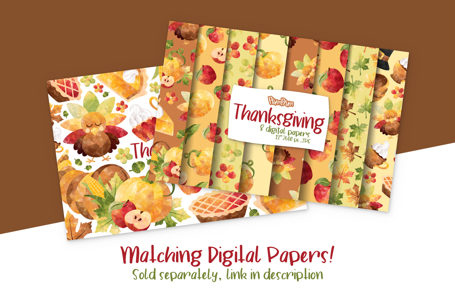 Thanksgiving Watercolor Cliparts example image 2