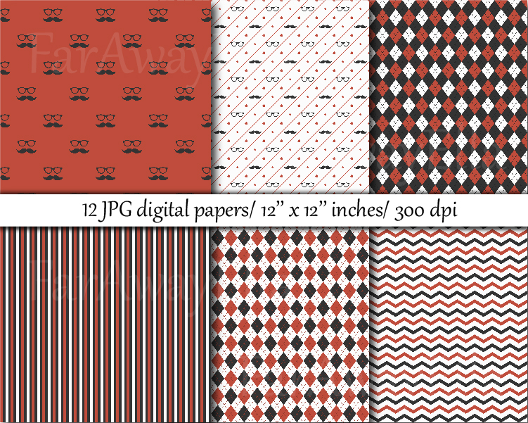 Gray and orange hipster digital paper example image 2