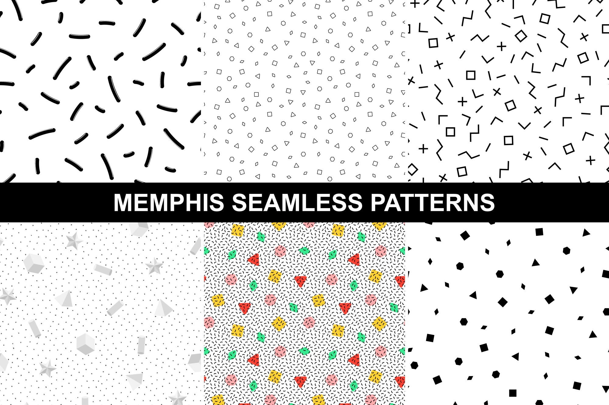 Memphis style - geometric patterns. example image 1