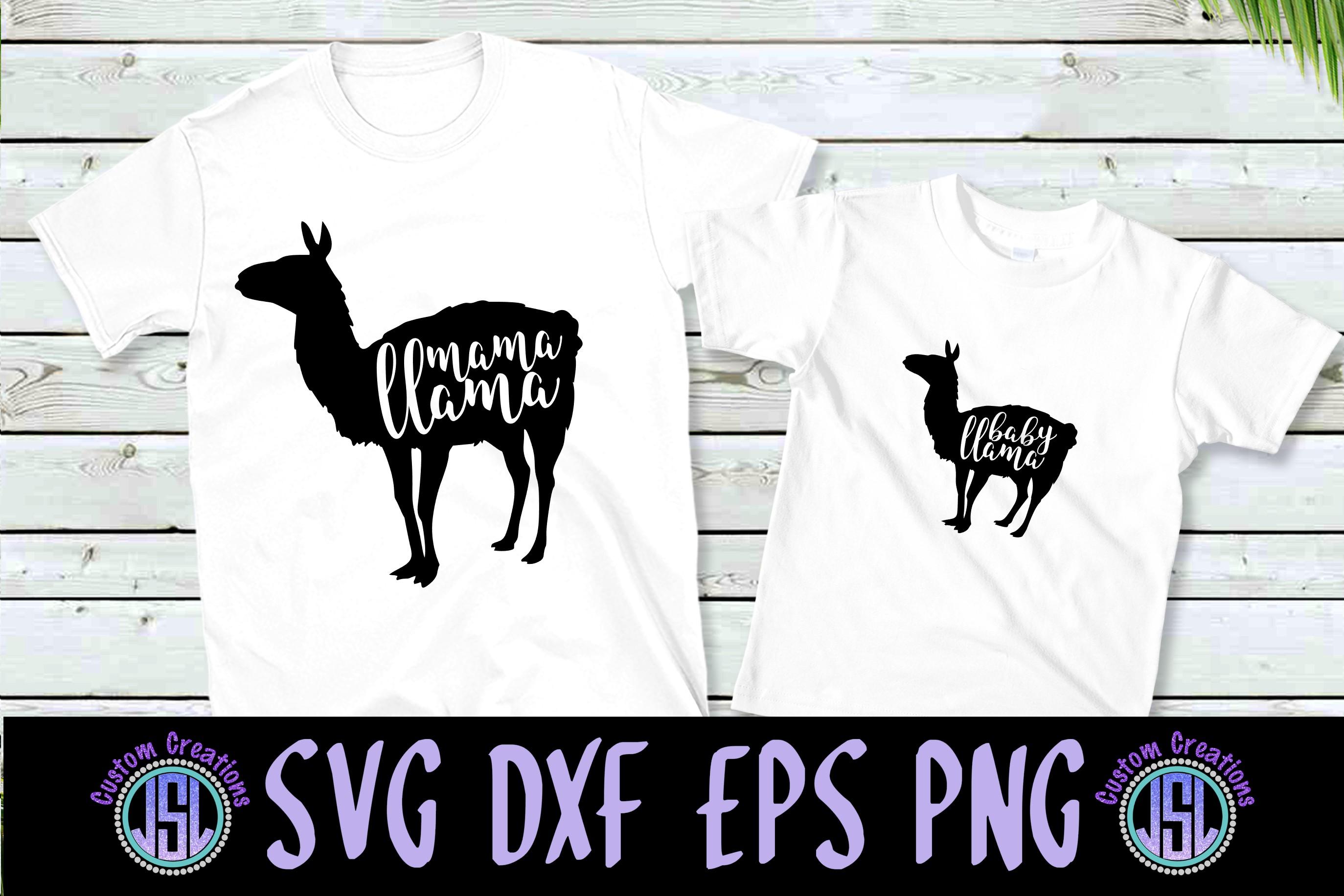 Mama & Baby Llama Set of 2 | SVG DXF EPS PNG Digital Files example image 1