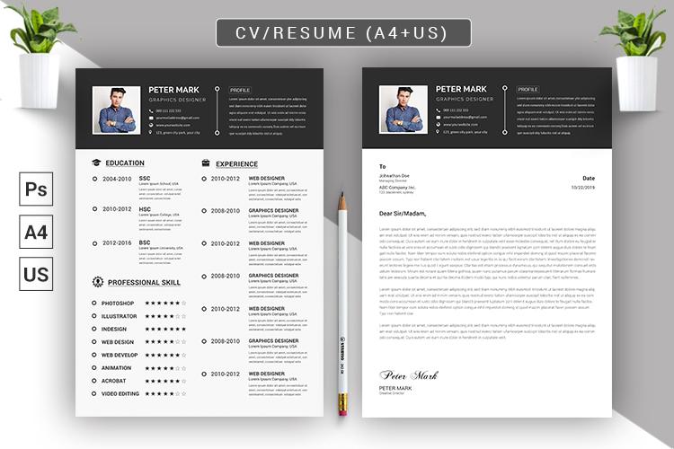 CV Resume PSD Template example image 2