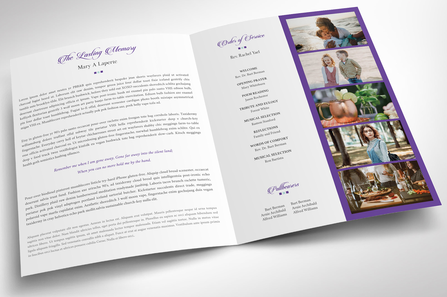 Remember Purple Teal Funeral Program Word Publisher Large example image 3