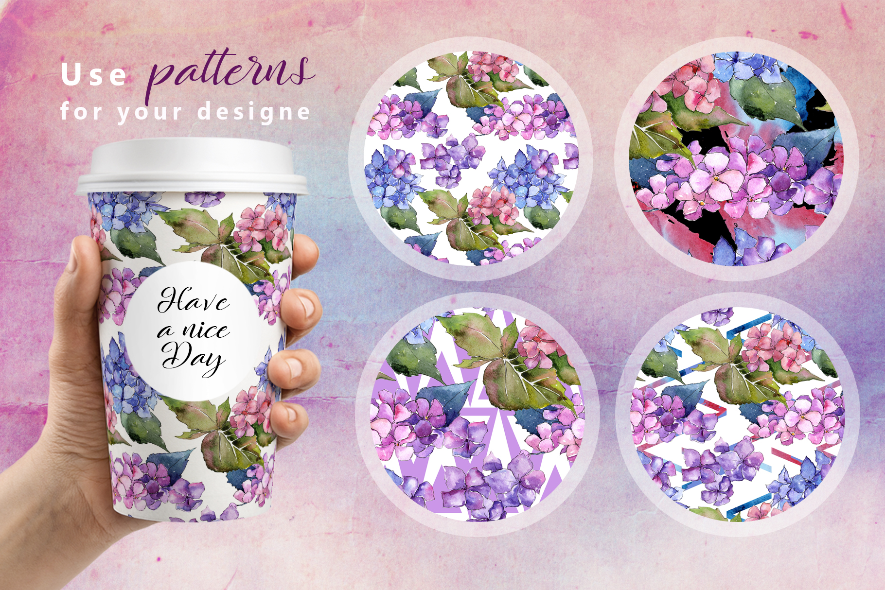 Hydrangea PNG watercolor flower set  example image 4