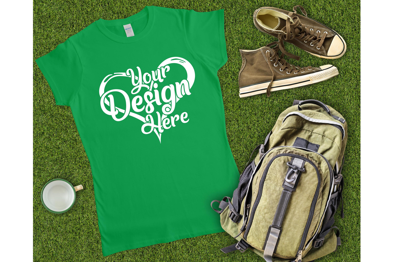 Gildan Ladies T-Shirt Mockup Mega Bundle Flat Lay 64000L example image 29
