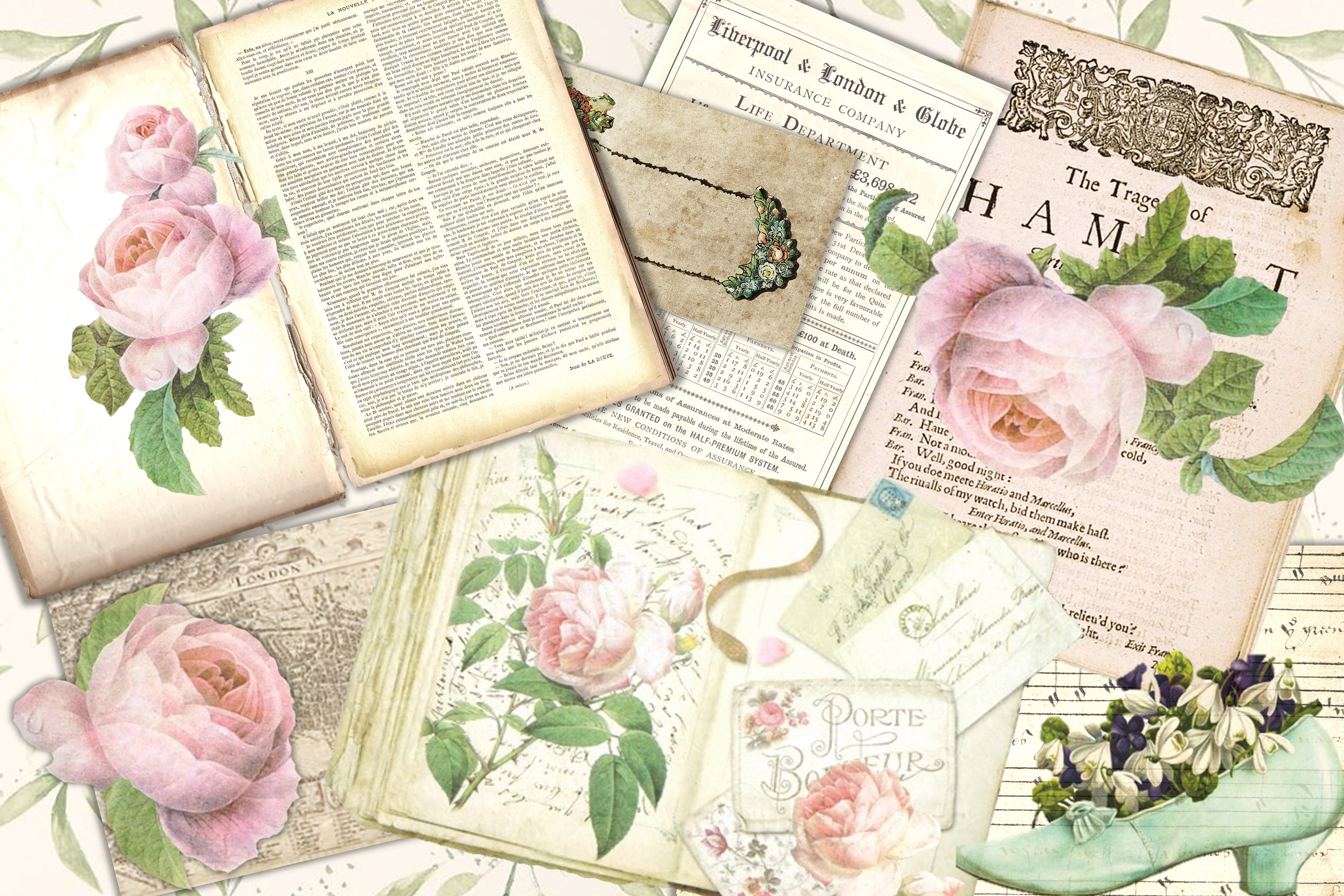 Journaling backgrounds with FREE ephemera PNG and JPEG CU example image 2