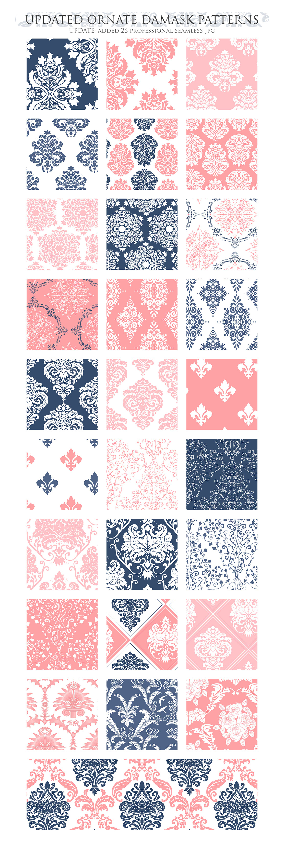 Coral and Navy Damask Patterns - Seamless Digital Papers example image 3