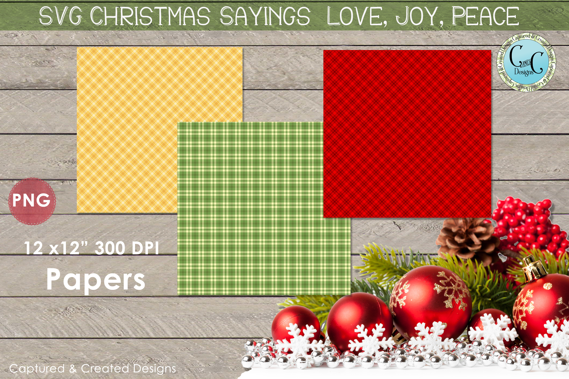 SVG Christmas Sayings Love, Joy Peace with Patterned Papers- example image 2