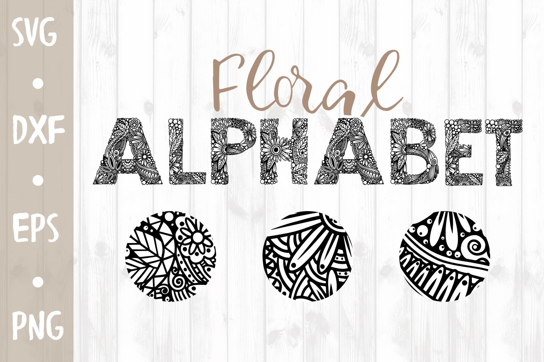 Floral Alphabet SVG CUT FILE example image 1