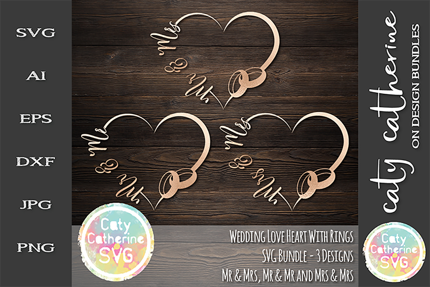 Wedding Love Heart Frame With Rings Bundle SVG Cut File example image 1